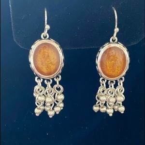Amber color and silvertone earrings
